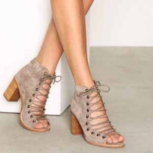 Jeffrey Campbell Cors Taupe Suede Lace Up Sandal